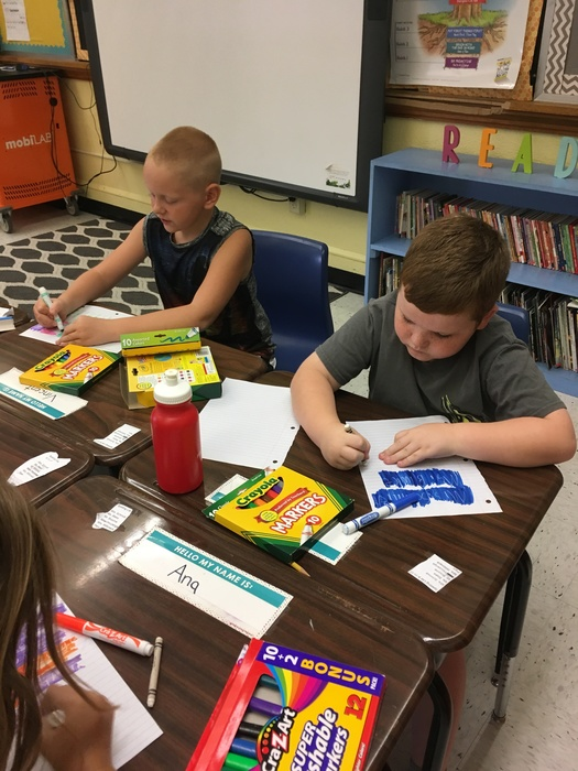 Miss Cram's 3rd grade class practiced their spelling words using ghost writing!