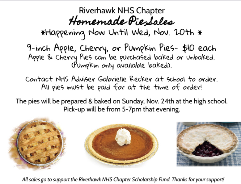 Riverhawk NHS Homemade Pie Sales