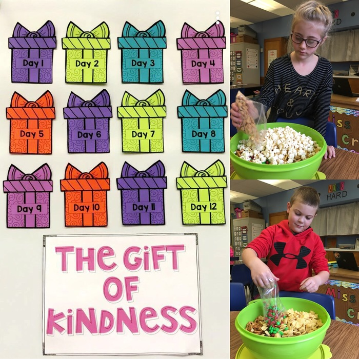 3rd Grade students in Mrs. Parker and Miss Cram's classes started 12 days of Kindness today. Students worked together to make a trail mix to show appreciation for the adults in our building.