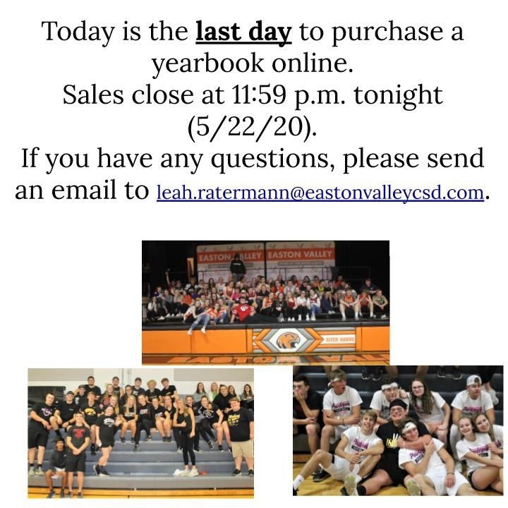 Last Day for yearbook sales