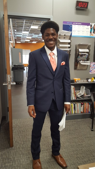 Ronald Jones is our tux model for Gilmore Dry Clean / Tux Rental for Prom 2018!  Looking Sharp!